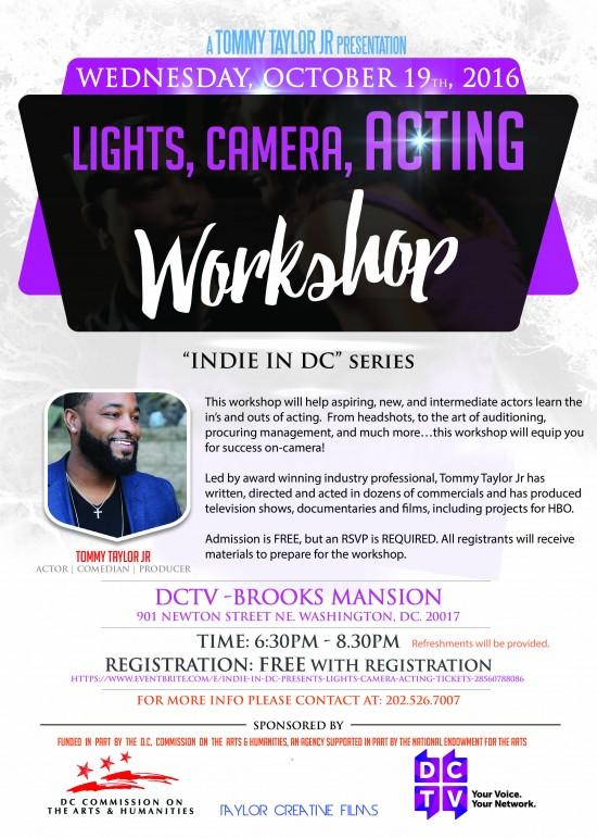 Lights, Camera, Acting! Workshop w/Tommy Taylor Jr.